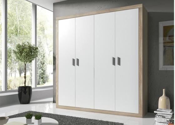 armario 4 puertas blanco y madera modelo laura