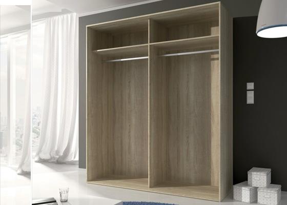 Armario dos puertas corredera madera y blanco - Armario madera blanco ...