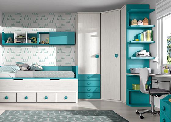 Cama compacta - Dormitorio juvenil doble ...