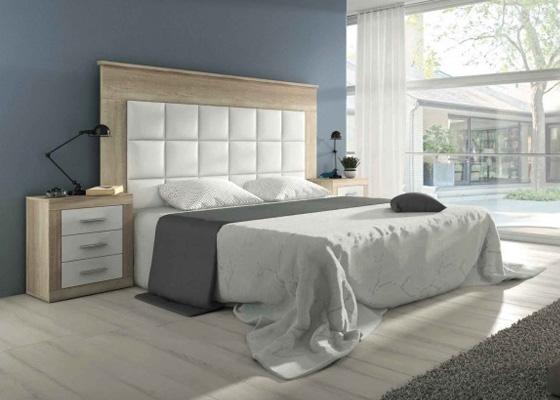 dormitorio matrimonio cabecero y dos mesitas blanco y madera Laura