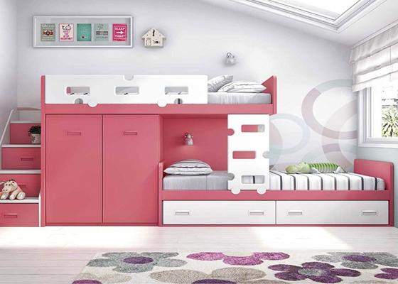 Camas litera tren for Dormitorios juveniles modernos precios