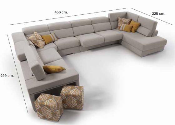 sofa en u con chaiselong y rinconera