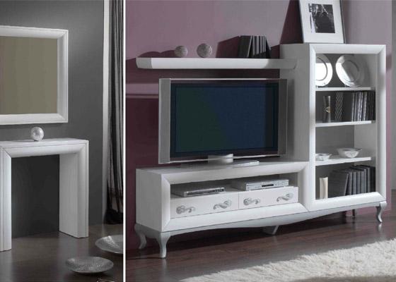 mueble salon color blanco modelo malaga con pata isabelina coleccion mar 1